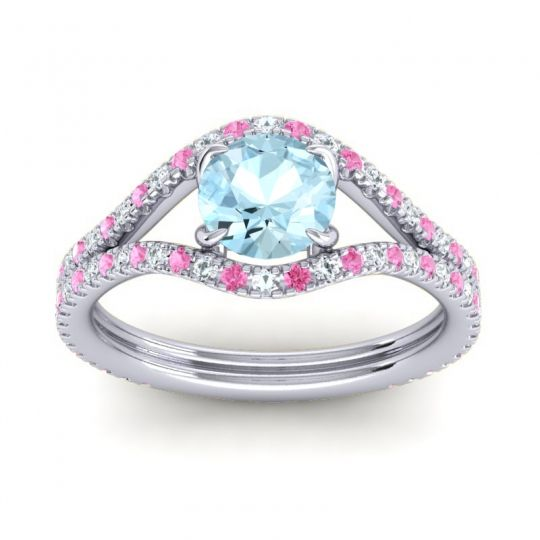 Aquamarine Modern Sarpa Ring with Pink Tourmaline and Diamond in Platinum