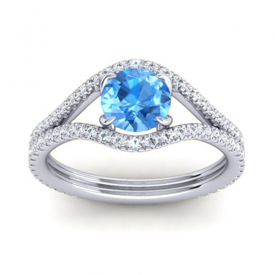 Swiss Blue Topaz Modern Sarpa Ring with Diamond in 14k White Gold