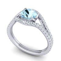Aquamarine Modern Sarpa Ring with Diamond in Platinum