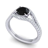 Black Onyx Modern Sarpa Ring with Diamond in 18k White Gold