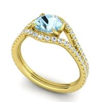 Aquamarine Modern Sarpa Ring with Diamond in 14k Yellow Gold