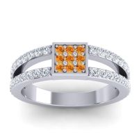 Simple Pave Square Peta Citrine Ring with Diamond in 14k White Gold