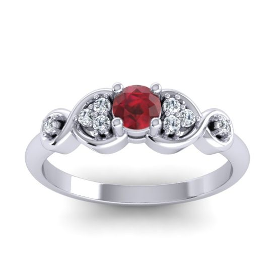 Petite Serpa Ruby Ring with Diamond in 14k White Gold