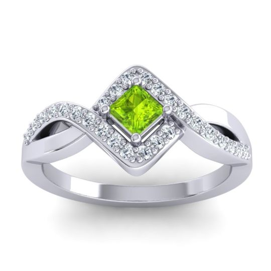 Petite Princess Bhrami Peridot Ring with Diamond in 14k White Gold