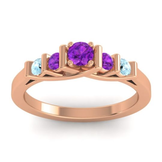 Amethyst Petite Sapallava Ring with Aquamarine in 18K Rose Gold