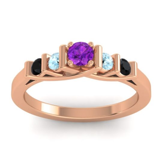 Amethyst Petite Sapallava Ring with Aquamarine and Black Onyx in 18K Rose Gold