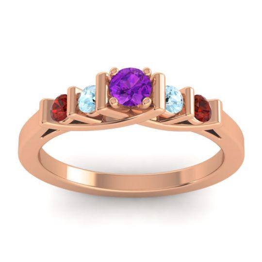 Amethyst Petite Sapallava Ring with Aquamarine and Garnet in 18K Rose Gold