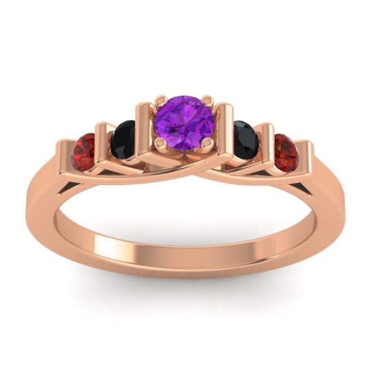 Amethyst Petite Sapallava Ring with Black Onyx and Garnet in 14K Rose Gold