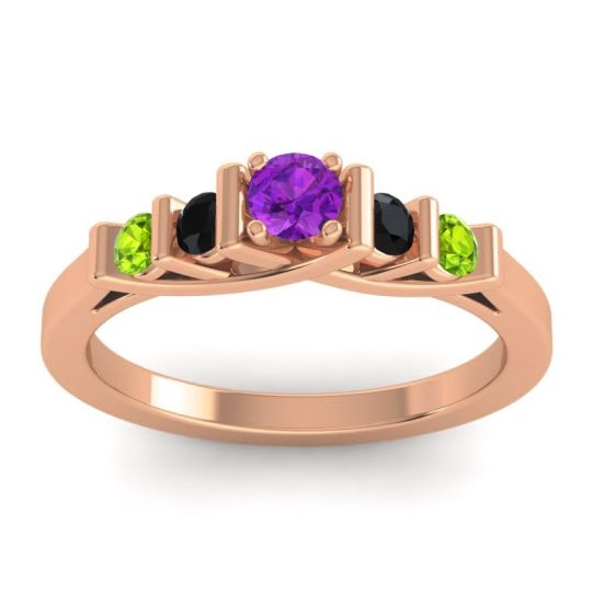 Amethyst Petite Sapallava Ring with Black Onyx and Peridot in 14K Rose Gold