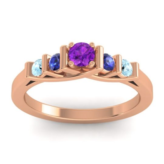 Amethyst Petite Sapallava Ring with Blue Sapphire and Aquamarine in 14K Rose Gold