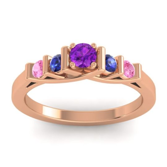 Amethyst Petite Sapallava Ring with Blue Sapphire and Pink Tourmaline in 14K Rose Gold