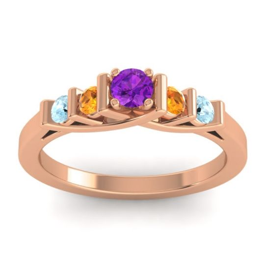 Amethyst Petite Sapallava Ring with Citrine and Aquamarine in 18K Rose Gold