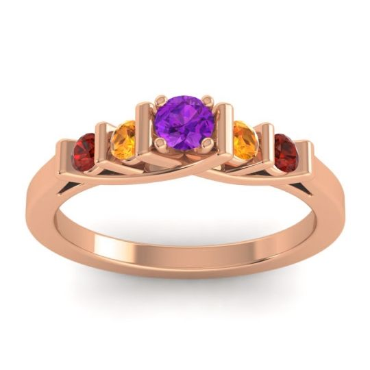 Amethyst Petite Sapallava Ring with Citrine and Garnet in 18K Rose Gold