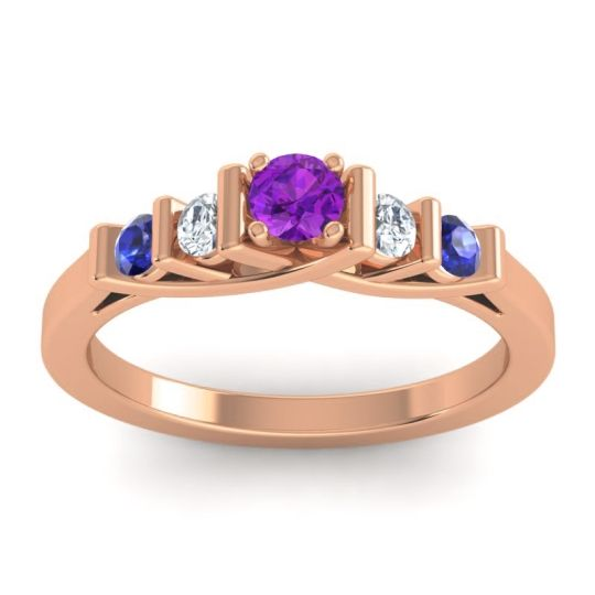 Amethyst Petite Sapallava Ring with Diamond and Blue Sapphire in 18K Rose Gold