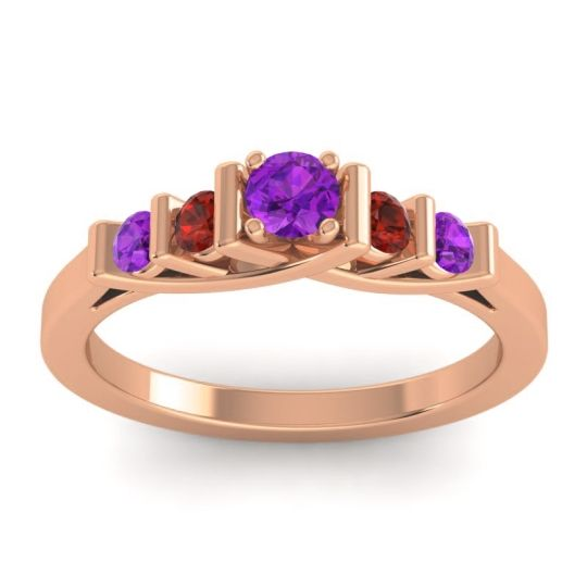 Amethyst Petite Sapallava Ring with Garnet in 14K Rose Gold
