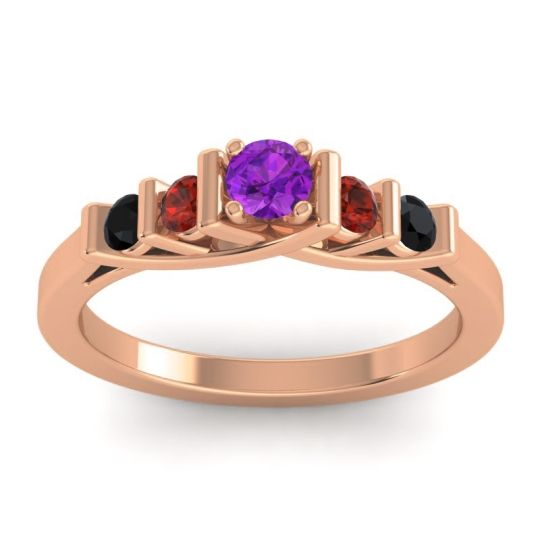 Amethyst Petite Sapallava Ring with Garnet and Black Onyx in 18K Rose Gold