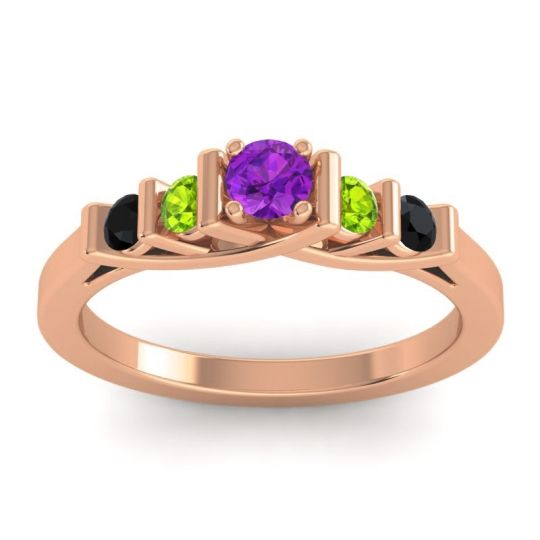 Amethyst Petite Sapallava Ring with Peridot and Black Onyx in 18K Rose Gold