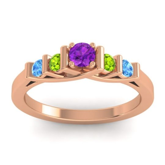Amethyst Petite Sapallava Ring with Peridot and Swiss Blue Topaz in 18K Rose Gold