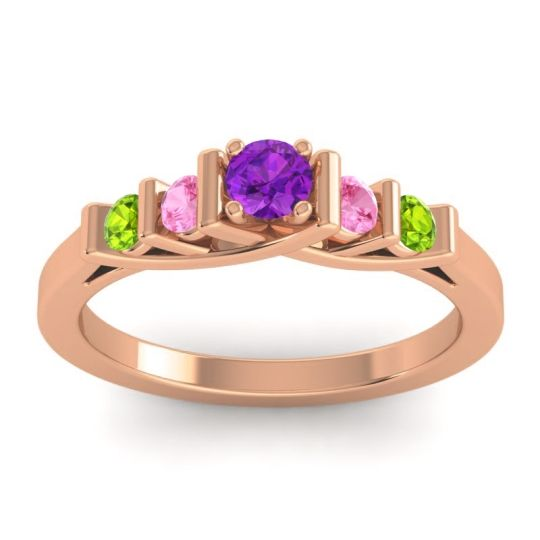 Amethyst Petite Sapallava Ring with Pink Tourmaline and Peridot in 18K Rose Gold