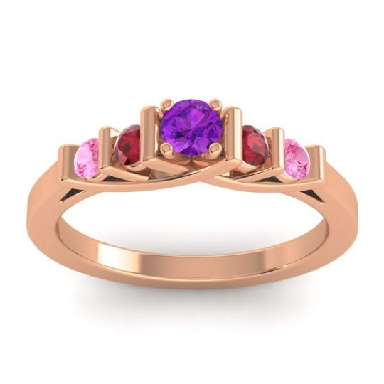 Amethyst Petite Sapallava Ring with Ruby and Pink Tourmaline in 18K Rose Gold