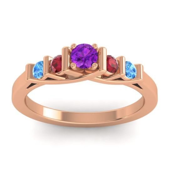 Amethyst Petite Sapallava Ring with Ruby and Swiss Blue Topaz in 18K Rose Gold