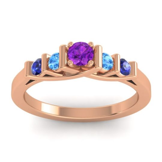 Amethyst Petite Sapallava Ring with Swiss Blue Topaz and Blue Sapphire in 14K Rose Gold