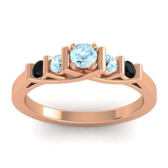 Aquamarine Petite Sapallava Ring with Black Onyx in 14K Rose Gold