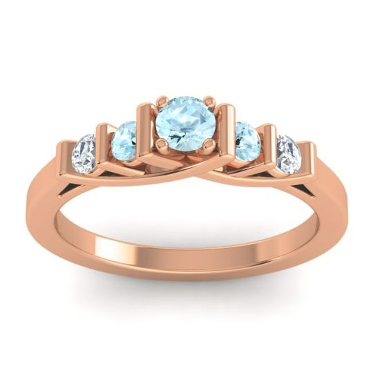 Aquamarine Petite Sapallava Ring with Diamond in 14K Rose Gold