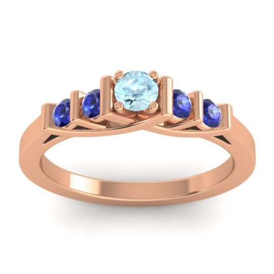 Aquamarine Petite Sapallava Ring with Blue Sapphire in 14K Rose Gold