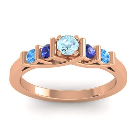 Aquamarine Petite Sapallava Ring with Blue Sapphire and Swiss Blue Topaz in 14K Rose Gold