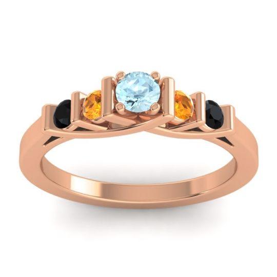 Aquamarine Petite Sapallava Ring with Citrine and Black Onyx in 18K Rose Gold