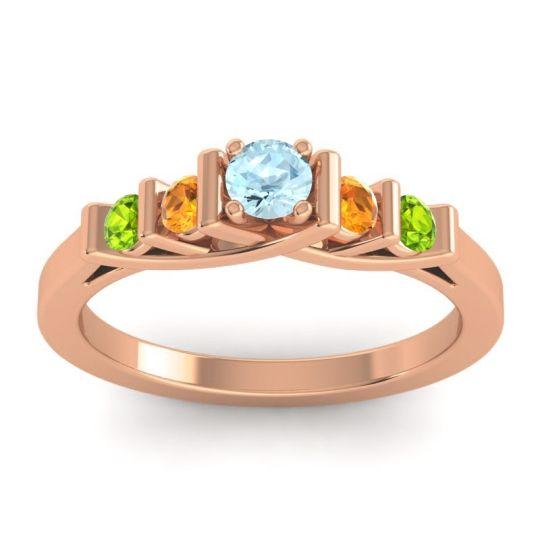 Aquamarine Petite Sapallava Ring with Citrine and Peridot in 14K Rose Gold