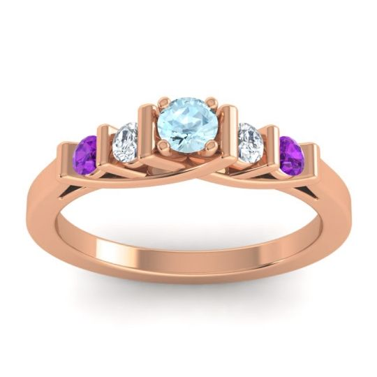 Aquamarine Petite Sapallava Ring with Diamond and Amethyst in 18K Rose Gold