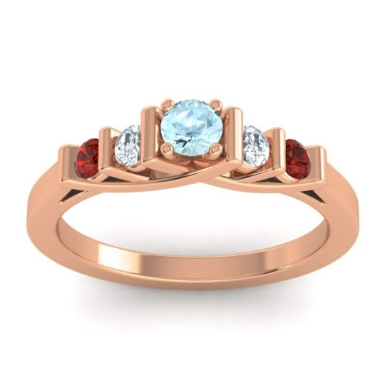 Aquamarine Petite Sapallava Ring with Diamond and Garnet in 18K Rose Gold
