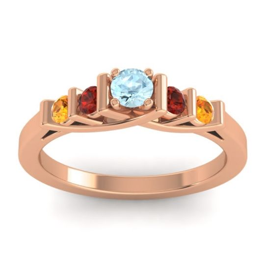Aquamarine Petite Sapallava Ring with Garnet and Citrine in 18K Rose Gold