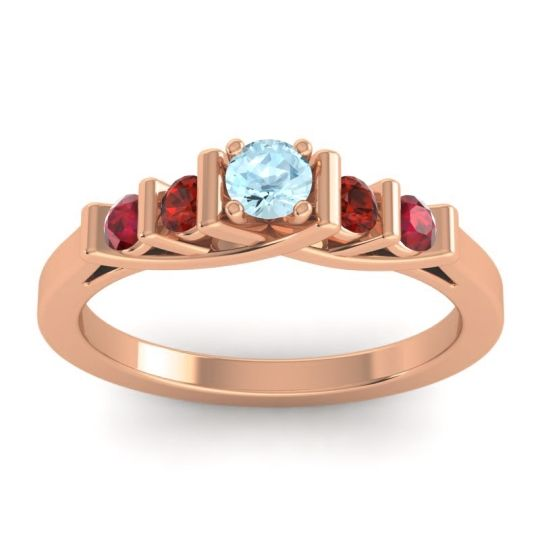 Aquamarine Petite Sapallava Ring with Garnet and Ruby in 18K Rose Gold