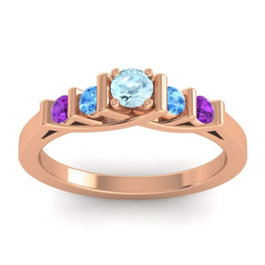 Aquamarine Petite Sapallava Ring with Swiss Blue Topaz and Amethyst in 18K Rose Gold