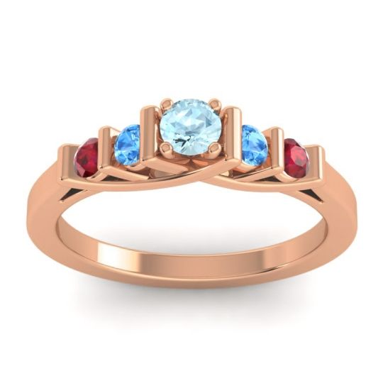Aquamarine Petite Sapallava Ring with Swiss Blue Topaz and Ruby in 14K Rose Gold