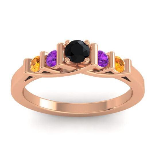 Black Onyx Petite Sapallava Ring with Amethyst and Citrine in 14K Rose Gold