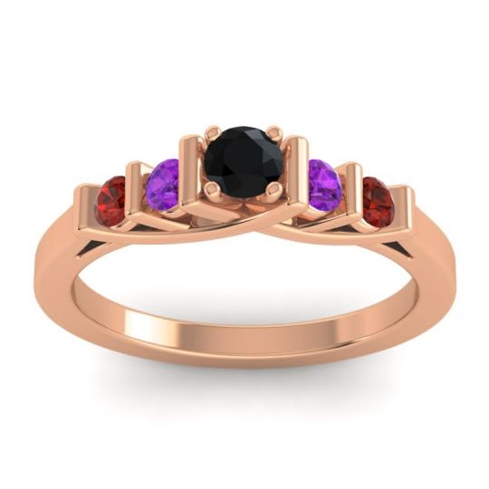 Black Onyx Petite Sapallava Ring with Amethyst and Garnet in 18K Rose Gold