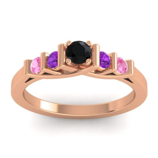 Black Onyx Petite Sapallava Ring with Amethyst and Pink Tourmaline in 14K Rose Gold