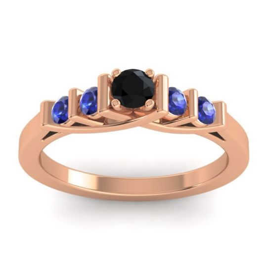 Black Onyx Petite Sapallava Ring with Blue Sapphire in 14K Rose Gold