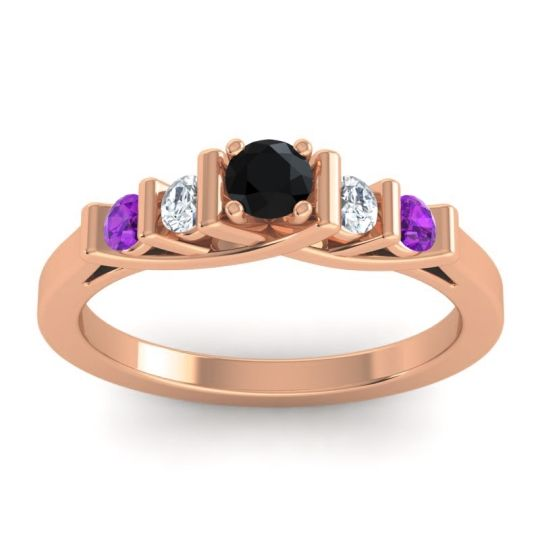 Black Onyx Petite Sapallava Ring with Diamond and Amethyst in 18K Rose Gold