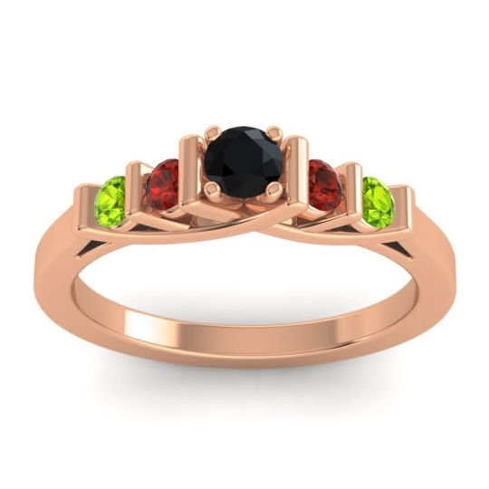 Black Onyx Petite Sapallava Ring with Garnet and Peridot in 14K Rose Gold