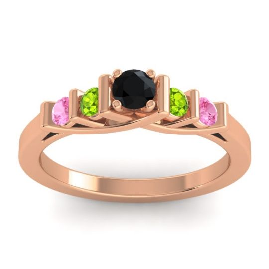 Black Onyx Petite Sapallava Ring with Peridot and Pink Tourmaline in 18K Rose Gold