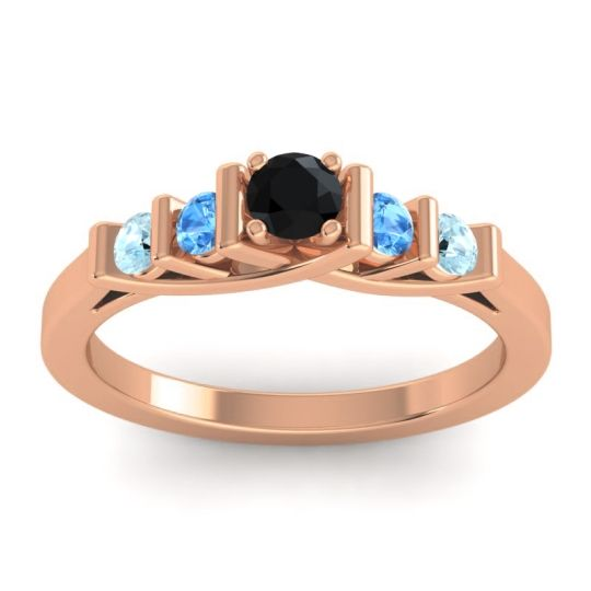 Black Onyx Petite Sapallava Ring with Swiss Blue Topaz and Aquamarine in 14K Rose Gold