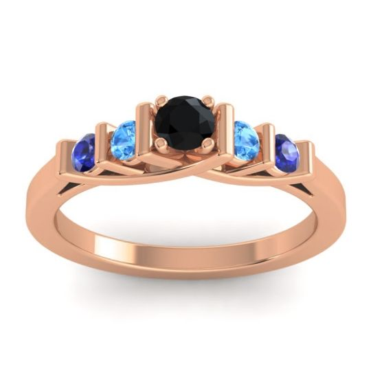 Black Onyx Petite Sapallava Ring with Swiss Blue Topaz and Blue Sapphire in 18K Rose Gold