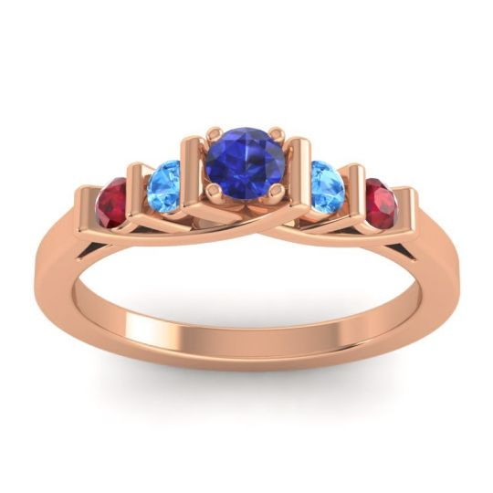 Blue Sapphire Petite Sapallava Ring with Swiss Blue Topaz and Ruby in 14K Rose Gold