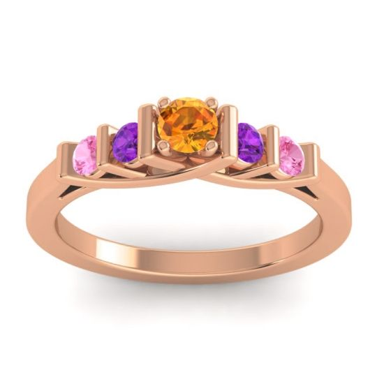 Citrine Petite Sapallava Ring with Amethyst and Pink Tourmaline in 18K Rose Gold