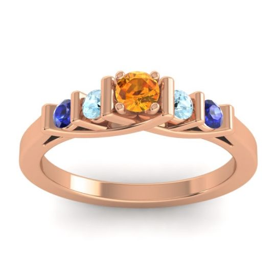 Citrine Petite Sapallava Ring with Aquamarine and Blue Sapphire in 18K Rose Gold